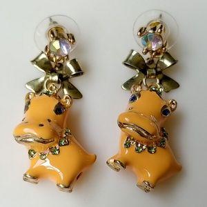Betsey Johnson Orange Hippo Gold Bow Earrings